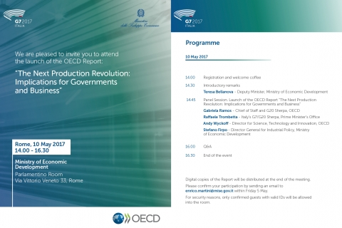 "Launch of the OECD's Report: ""The Next Production Revolution: Implications for Governments and Business"""